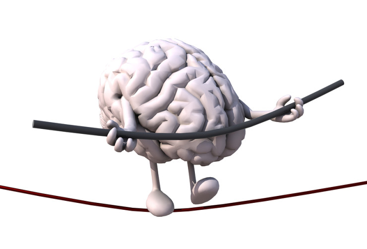 brain acrobat who walks on a wire concept of stressful life